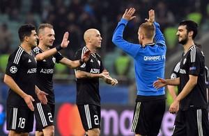 Los jugadores del Qarabag celebran un gol en la última edición de la Champions League.