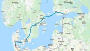 El recorrido en coche de Carlos Puigdemont desde Finlandia a Alemania.