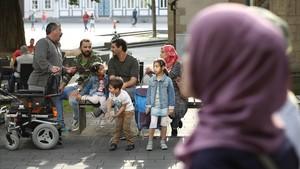 Refugiados sirios en la ciudad alemana de Goslar.