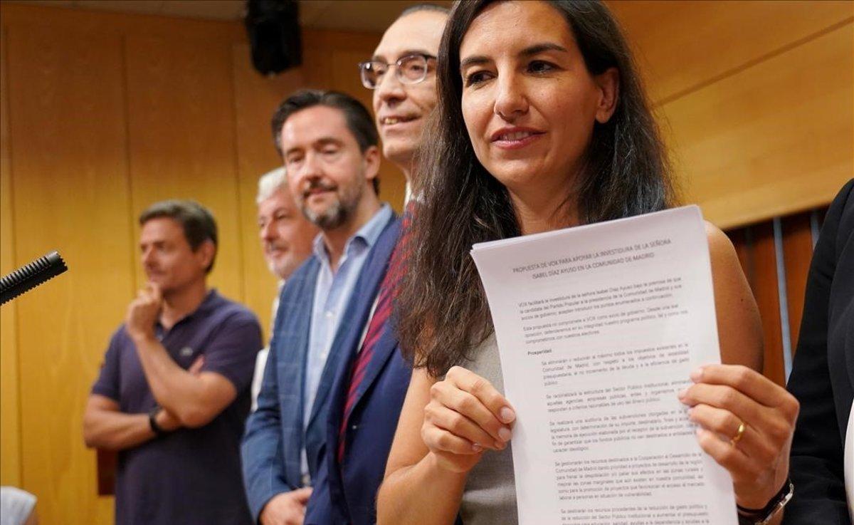 Rocío Monasterio (Vox), en rueda de prensa en la Asamblea de Madrid.