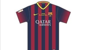 La camiseta que llevarán los jugadores del Barça en homenaje a Tito Vilanova.