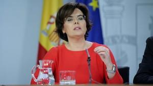 La vicepresidenta durante la rueda de prensa, tras el Consejo de Ministros.