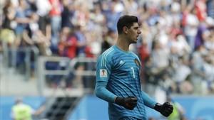 Thibaut Courtois en un partido del Mundial de Rusia