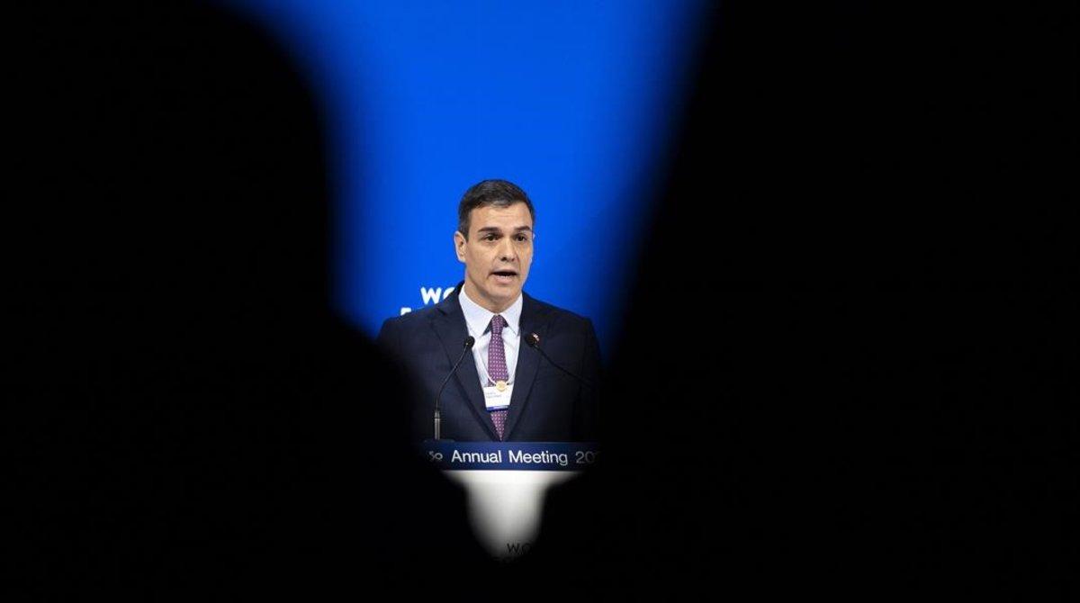 El presidente del Gobierno, Pedro Sánchez, durante su intervención en el foro de Davos.