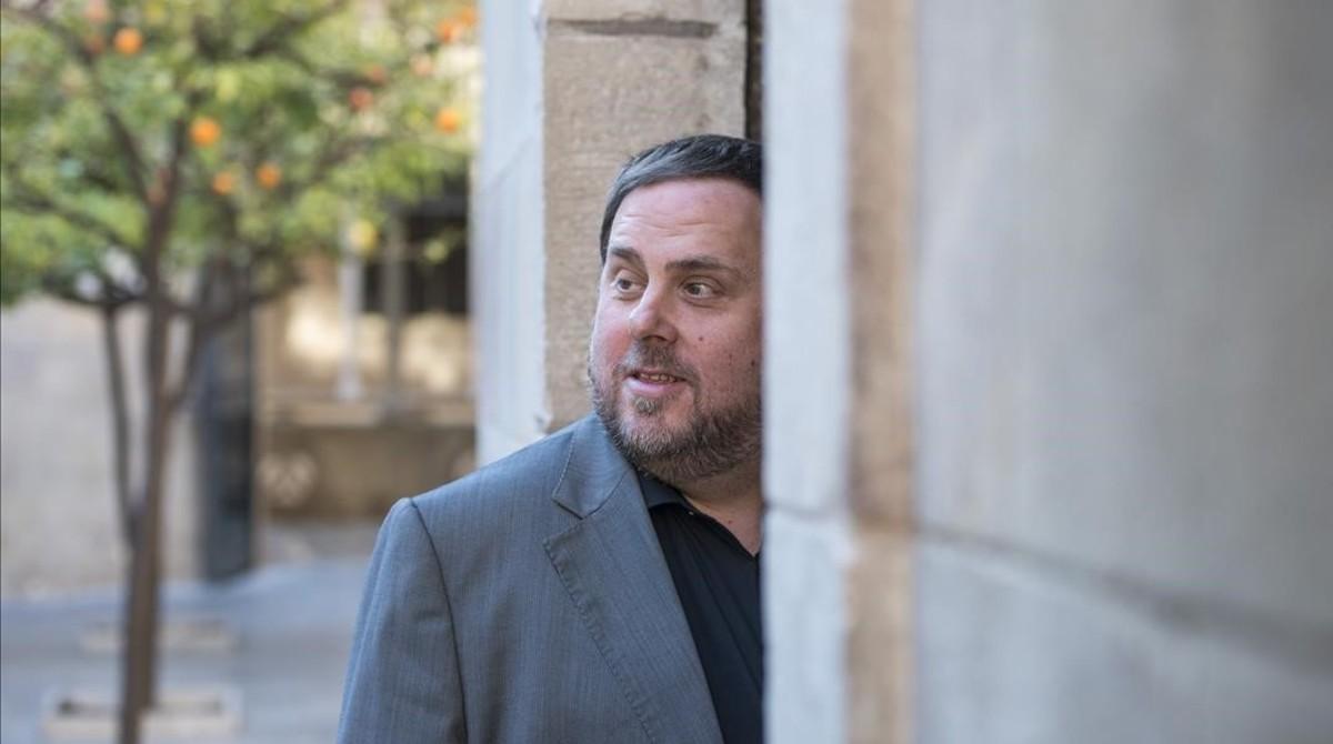 El vicepresidente y conseller de Economia i Hisenda, Oriol Junqueras, en el Palau de la Generalitat.