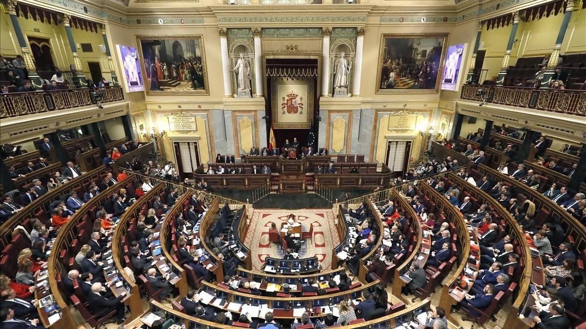 Vista general del hemiciclo del Congreso de los Diputados, el pasado 3 de diciembre, día de la sesión constitutiva.