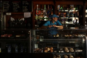A worker stands inside a bakery during an ongoing blackout in Caracas Venezuela March 10 2019 REUTERS Manaure Quintero NO RESALES NO ARCHIVES