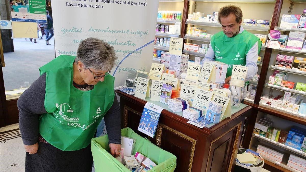 Recogida solidaria de medicamentos para el Banc Farmacèutic en el año 2017.