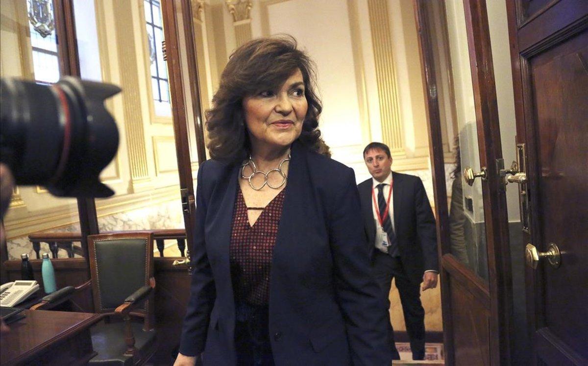 La vicepresidenta, Carmen Calvo, acude a la comisión de gastos reservados del Congreso.