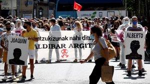 Manifestación por el derrumbe en el vertedero deZaldibar.