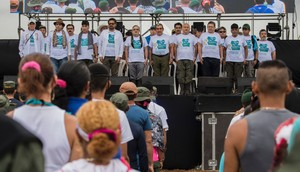 La cúpula de las FARC en la ceremonia de apertura de la conferencia.