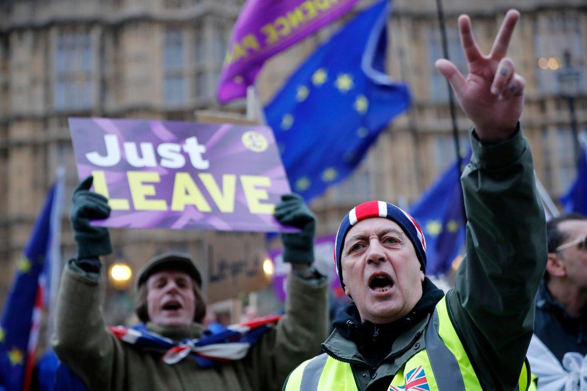 Manifestantes a favor del 'brexit', en Londres, este martes 29 de enero del 2019.