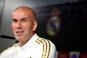 Zinedine Zidane, técnico del Madrid, este sábado en rueda de prensa.