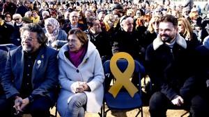 Acto electoral de ERC con la presencia de Carme Forcadell y Gabriel Rufián en Mataró.
