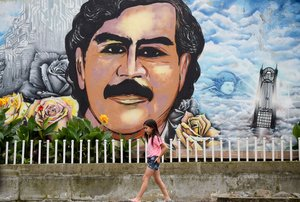 Picture taken at the Pablo Escobar neighbourhood in Medellin  Colombia  on November 28  2018  - December 2  2018 marks the 25th anniversary of Colombian drug lord Pablo Escobar s death   Photo by Raul ARBOLEDA   AFP