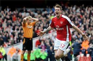 Nicklas Bendtner, en su etapa con el Arsenal.