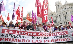 Cabecera de la manifestación del 1 de mayo en Madrid.