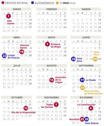 Calendario laboral de Reus del 2019.
