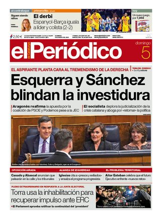 La portada de EL PERIÓDICO del 5 de enero del 2020
