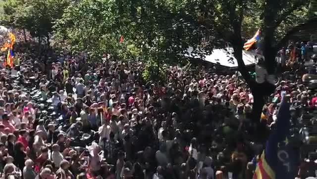 Varios centenares de personas que se han concentrado desde antes de las 9 horas de este miércoles a las puertas de la Conselleria de Economía