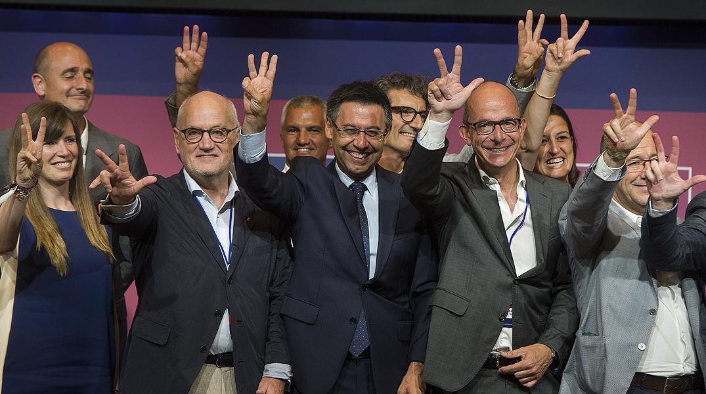 El ganador de las elecciones realiza su primer discurso como nuevo presidente del Barça.