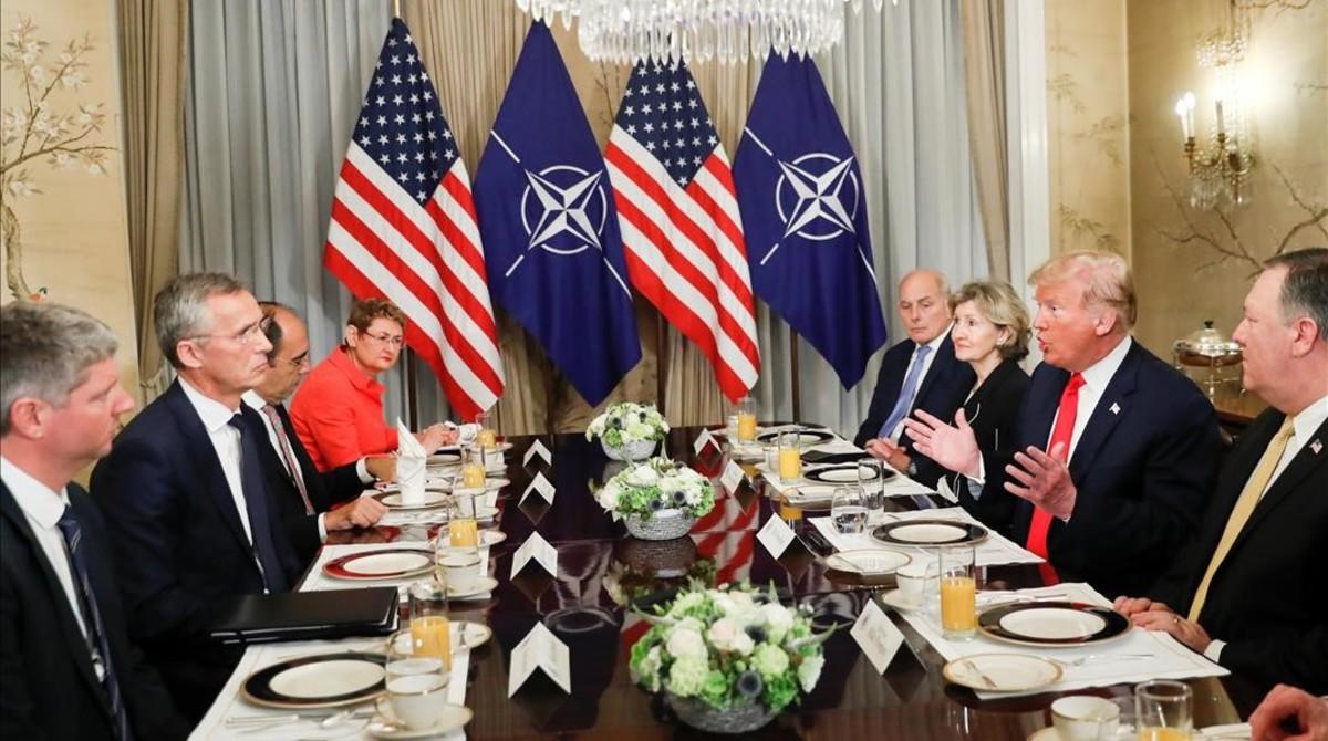 Donald Trump, en un desayuno antes de la cumbre de la OTAN en Bruselas.