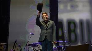 Joaquín Sabina, en el concierto del WiZink Center de Madrid que tuvo que abandonar al sentirse indispuesto, el pasado día 16.