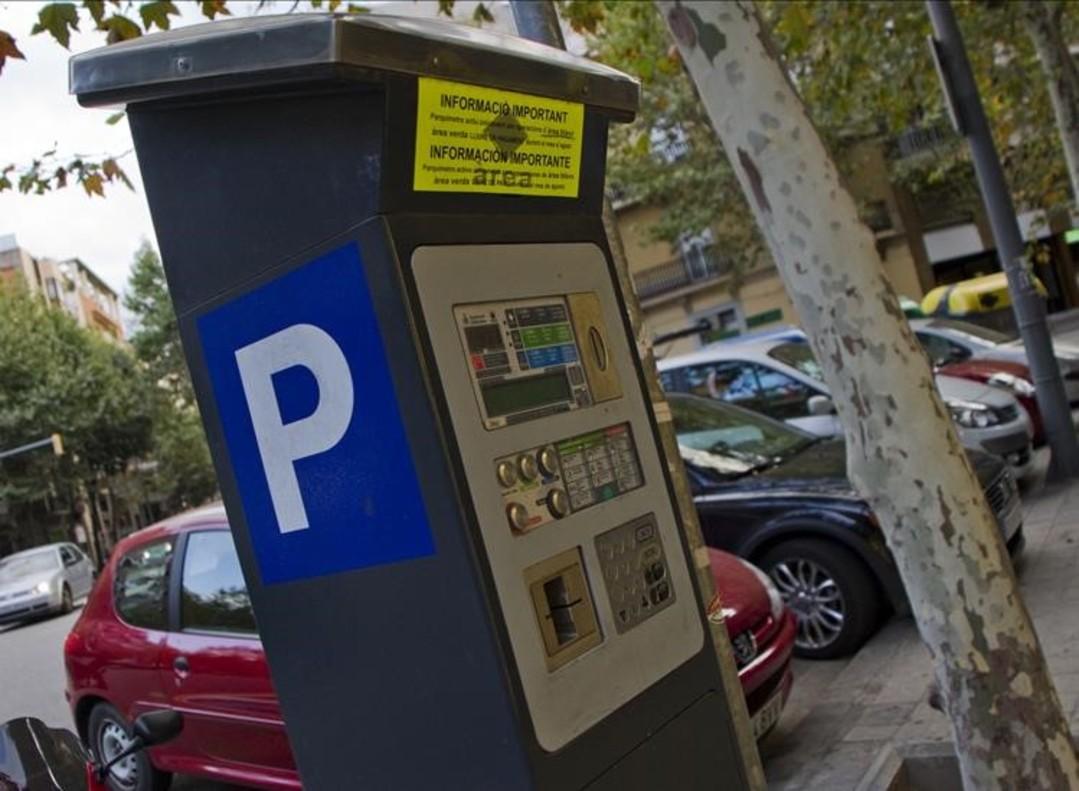 Un parquímetro en una calle de Barcelona.