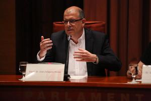 El exsecretario general del PSC José Zaragoza, durante su comparecencia en la comisión de investigación del Parlament.