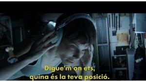 Escena de Gravity (2013) subtitulada en catalán para Movistar+.
