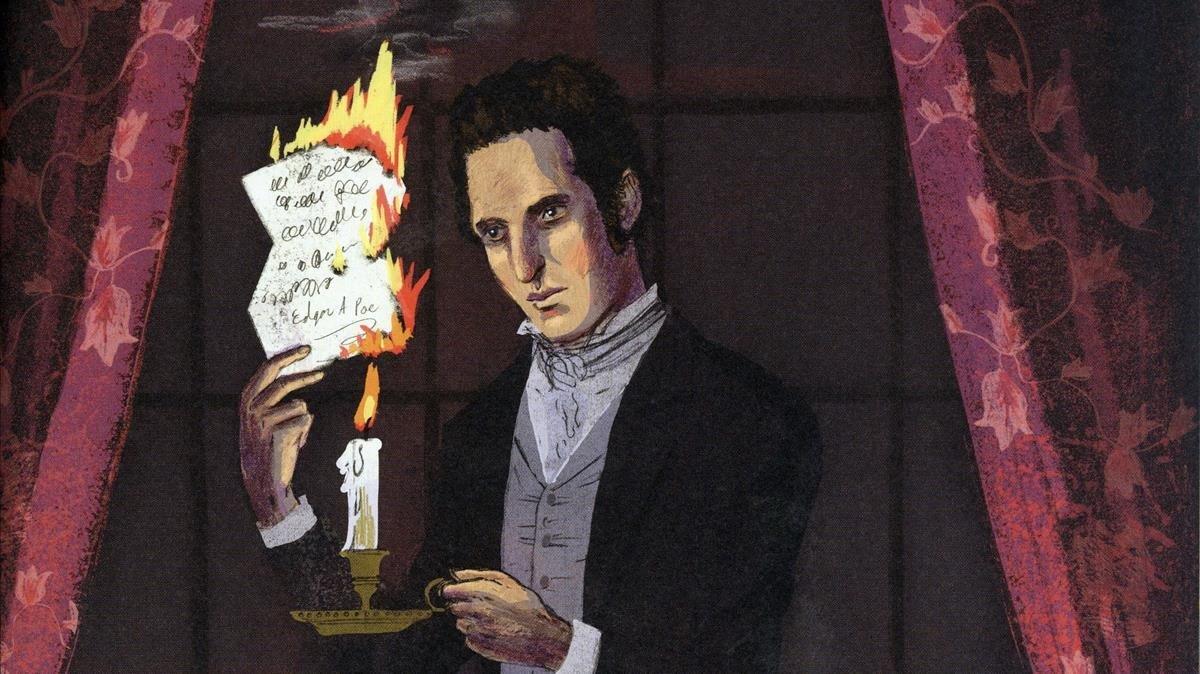 Fragmento de la ilustración de Byron Eggenschwiler, de Edgar Allan Poe, en Quién, qué, cuándo.