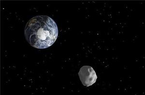 Imagen de una recreación distribuida por la NASA que representa el paso de un asteroide.