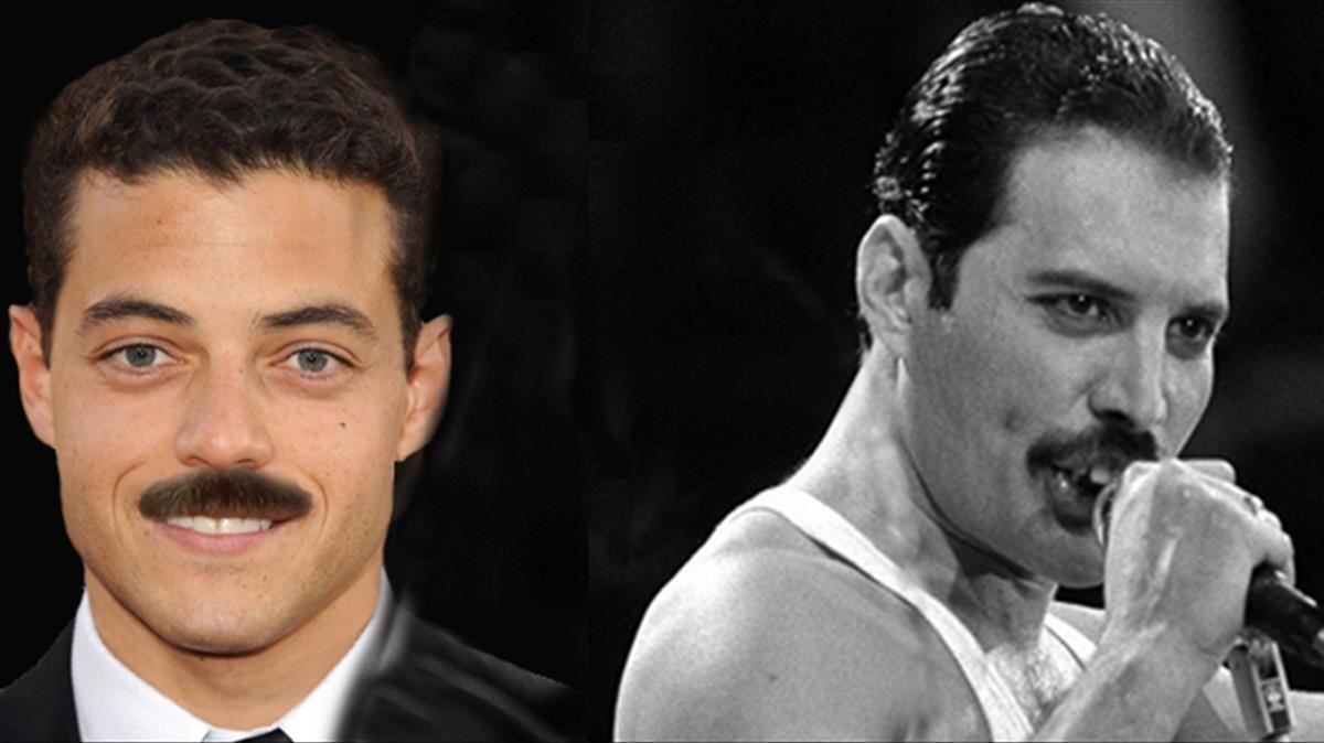 De izquierda a derecha, el actor Rami Malek y el cantante Freddie Mercury.
