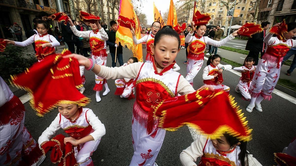 Bailes en el desfile del Año Nuevo Chino.