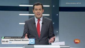 Juanma Moreno en el debate a cuatro de RTVE.