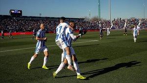 El Leganés, en un festejo de gol.