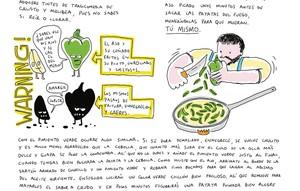 Una de las páginas del libro 'La tortilla de patatas', del chef David de Jorge y el ilustrador Javier Royo.