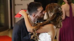 Lionel Messi y Antonella Rocuzzo, el día de su boda.