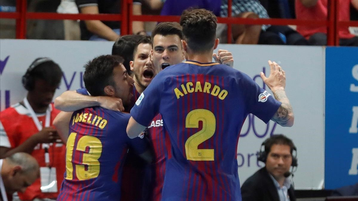 Los jugadores del Barça Lassa celebran un gol en una imagen de archivo