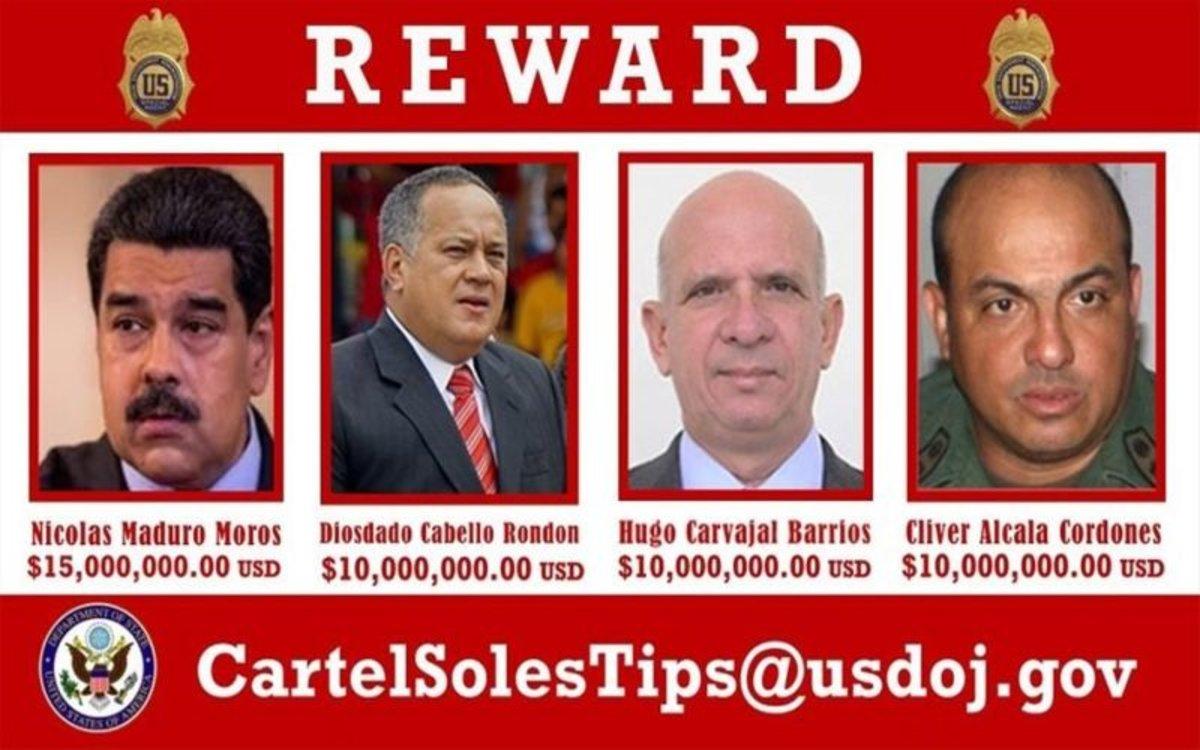 Ficha de los Estados Unidos donde acusa de Nicolás Maduro de narcotráfico.