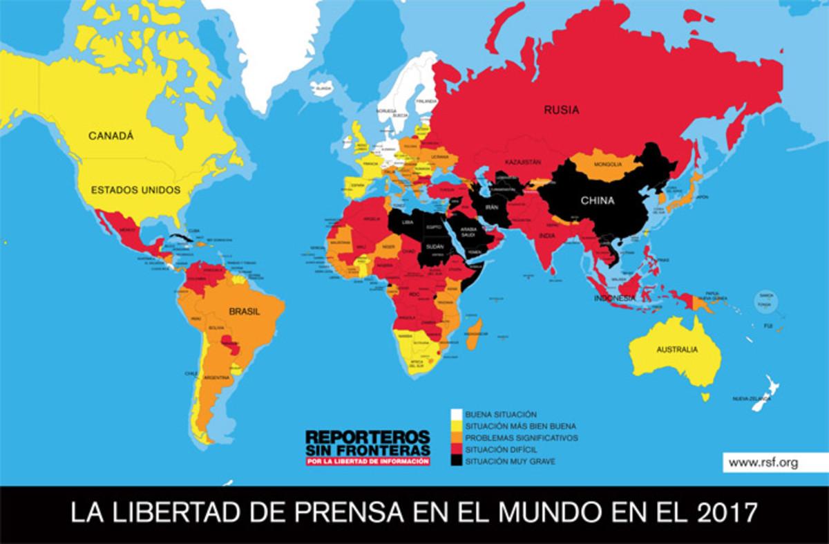 Mapa de la situación de la libertad de prensa en el mundo en 2017.