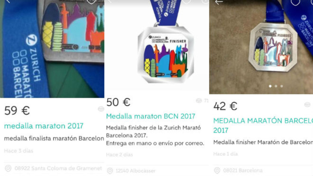 Tres de las medallas de la Maratón de Barcelona de este año que pueden adquirirse en Wallapop.