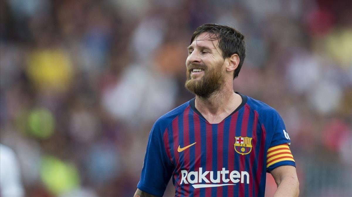 Messi, durante el partido ante el Huesca.