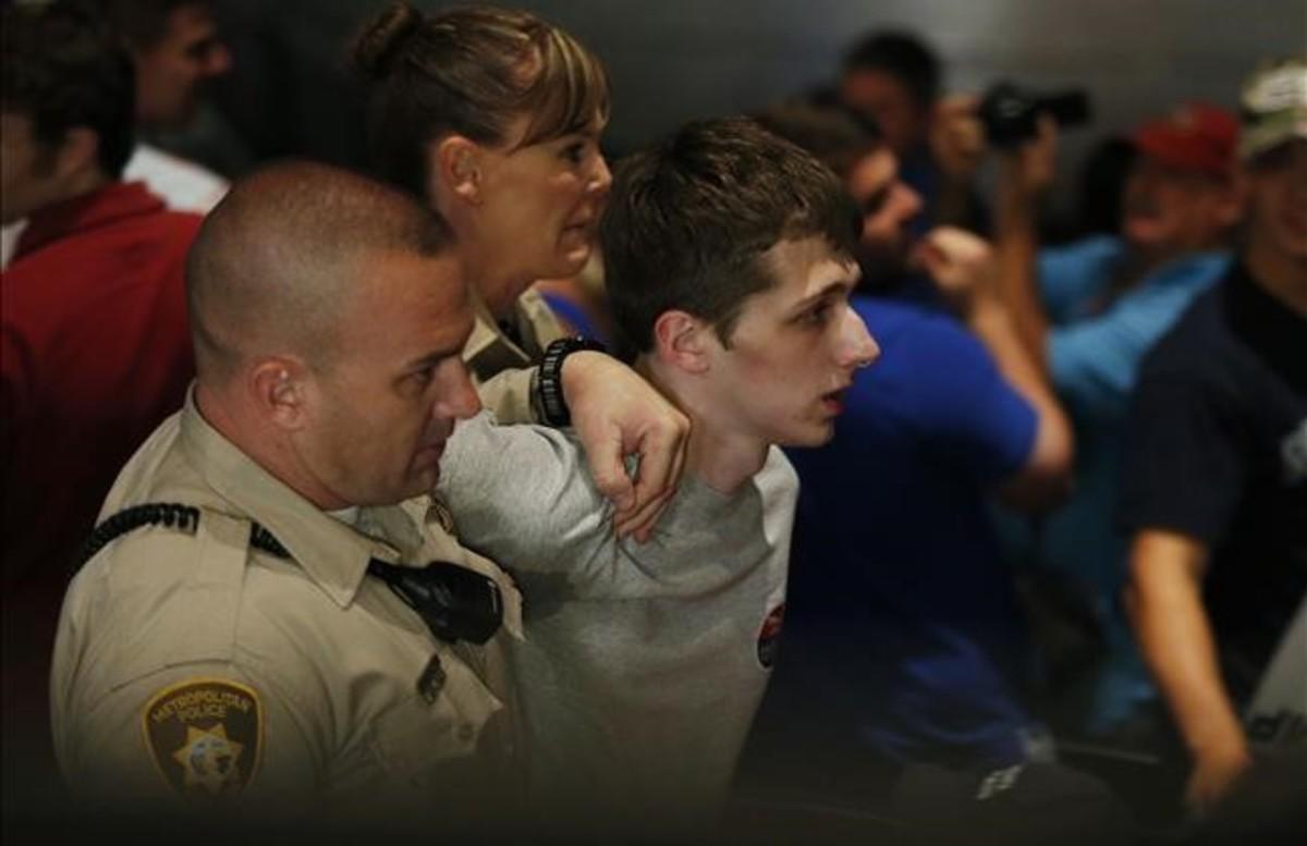 Michael Sandford en el momento de su detención en el casino Treasure Island de Las Vegas.