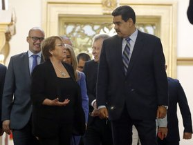U N High Commissioner for Human Rights Michelle Bachelet left chats with Venezuela s President Nicolas Maduro as they walk out of a meeting at Miraflores Presidential Palace in Caracas Venezuela Friday June 21 2019 The United Nations top human rights official is visiting Venezuela amid heightened international pressure on President Maduro AP Photo Ariana Cubillos