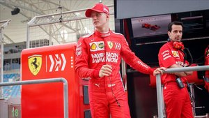 Mick Schumacher al volante del Ferrari, en Baréin.