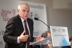 06/11/2019 El ministro de Asuntos Exteriores, Unión Europea y Cooperación en funciones, Josep Borrell, protagoniza el desayuno informativo organizado por Executive Forum bajo el título 'La Europa de la Defensa y la Seguridad', en Madrid (España), a 6 de noviembre de 2019