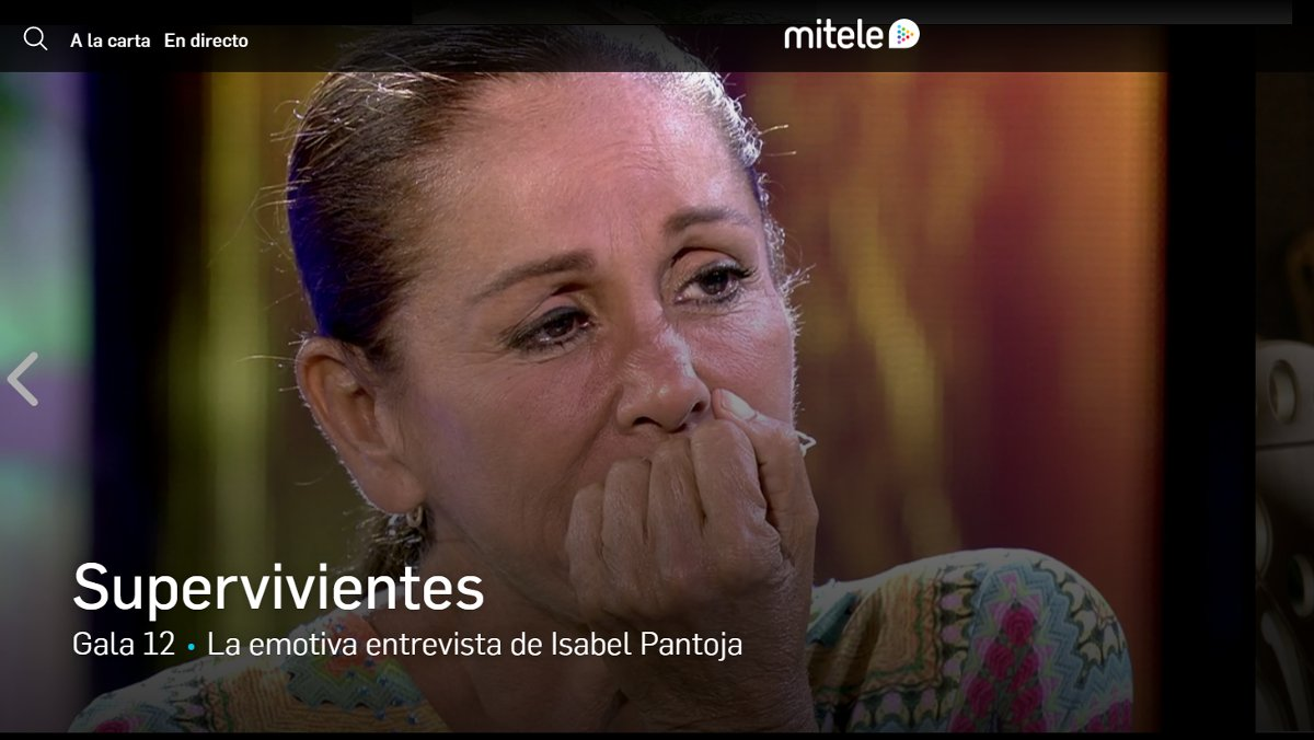 Imagen de la página web de la actual oferta de Mitele, de Mediaset España.