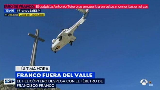 Helicóptero despegando con Franco dentro.