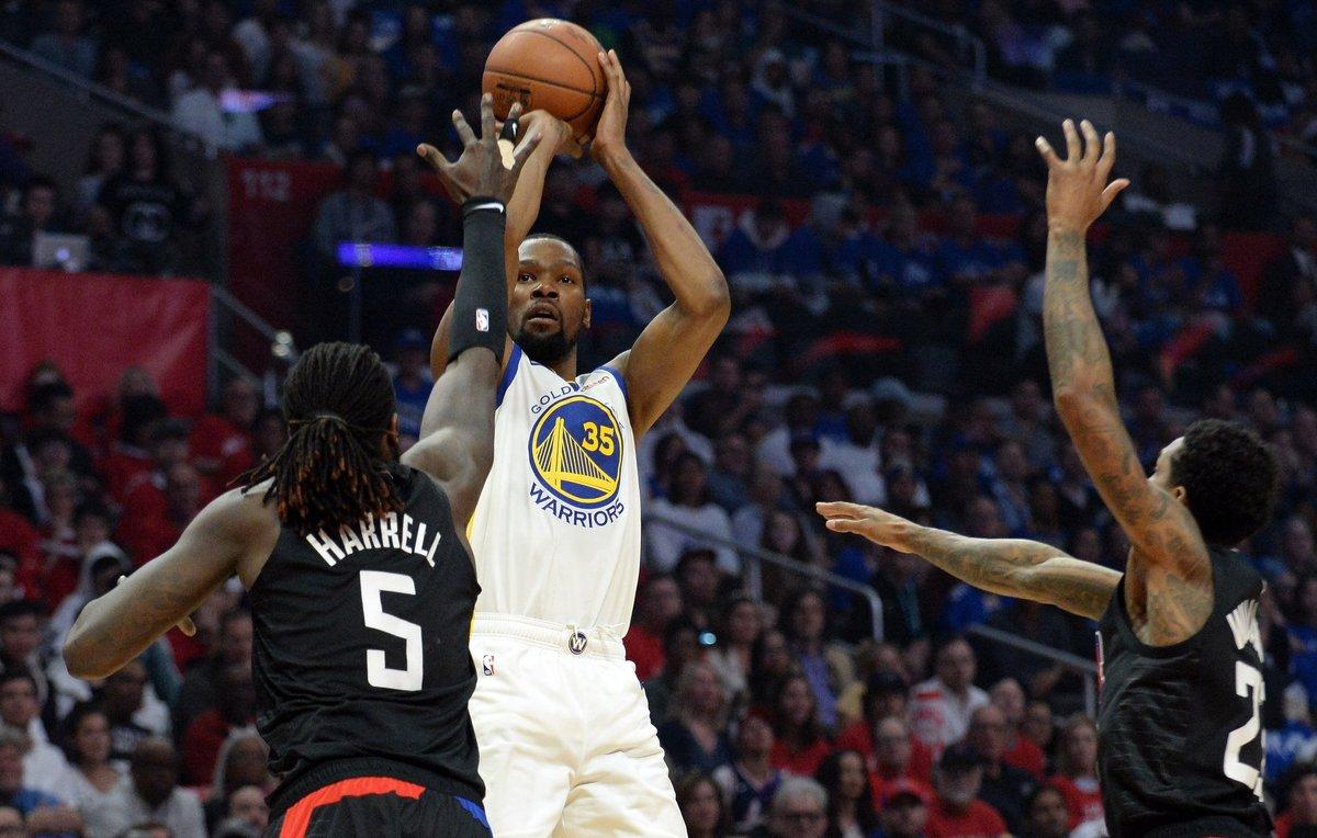 Kevin Durant en el triunfo de Golden State sobre losClippers.